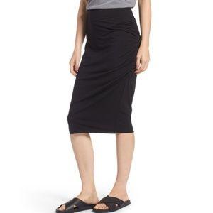 Treasure & Bond Ruched Knit Midi Skirt